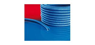 Schutzschlauch mit kunststoffbeschichteter Stahldrahteinlage. Extrem abriebfest und ölbeständig. System